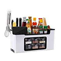 HYwot スパイス収納ボックス、フック付きキッチン用品オーガナイザーラック、ドレインと6つの独立した引き出し、パーティション収納ケース、多機能調味料棚,白