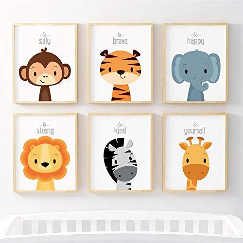 FA LEMON Lienzo Pintura Animales de la Selva Carteles e Impresiones Cuadros de Pared para niños Habitación del bebé Decoración del hogar-21x30cmx6 Piezas sin Marco