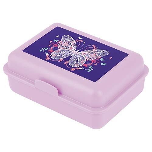 Baagl Brotdose Kinder mit Fächern - Lunchbox mit Trennwand für Schule und Kindergarten - Jausenbox mit Unterteilung für Mädchen (Schmetterling)