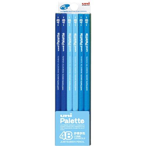 三菱鉛筆 かきかた鉛筆 ユニパレット 4B パステルブルー 1ダース K55604B