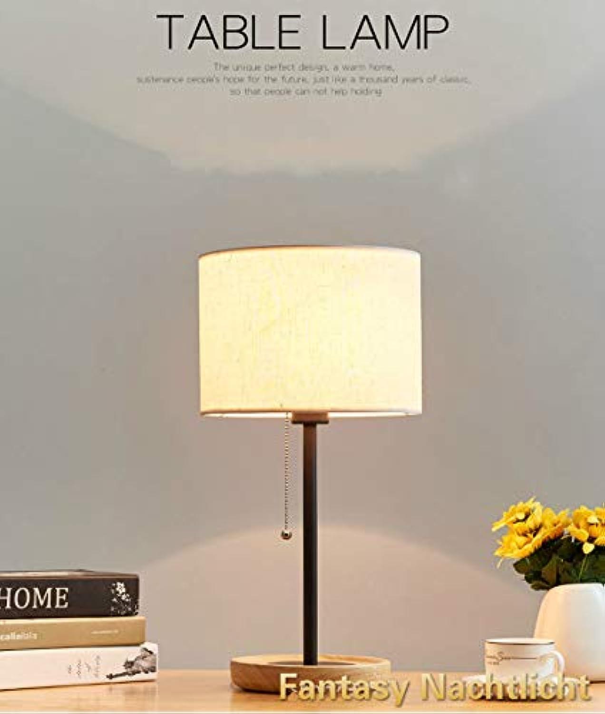 ZKLT Nordic Tischlampe LED Holz Studie Schlafzimmer Lampe Büro Wohnzimmer Arbeit Augenschutz Kinder Lernen Nachtlicht (Leinen)