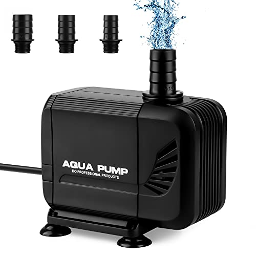 solawill Wasserpumpe Tauchpumpe, 2500L/H 35W Keine Geräusch Aquarium pumpe Teichpumpe Kleine Aquarienpumpe Amphibisch für Teich, Brunnen,mit Kabel 1.6M und 3 Düse 19mm/22mm/25mm Max Förderhöhe 2.5m