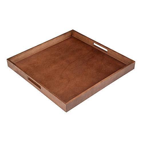 "Bestar Wood Square 20""x20"" Walnut Finish Wooden Tray"