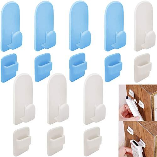 porta telecomandi da parete Fiyuer 8 Pcs ganci adesivi da parete per telecomandi di TV e condizionatori bianco blu