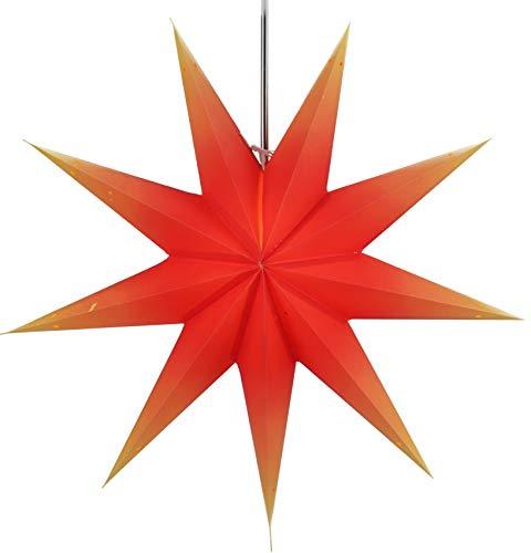 Guru-Shop Faltbarer Advents Leucht Papierstern, Weihnachtsstern Orion - Orange, Star Fensterdeko, 9 Spitzen