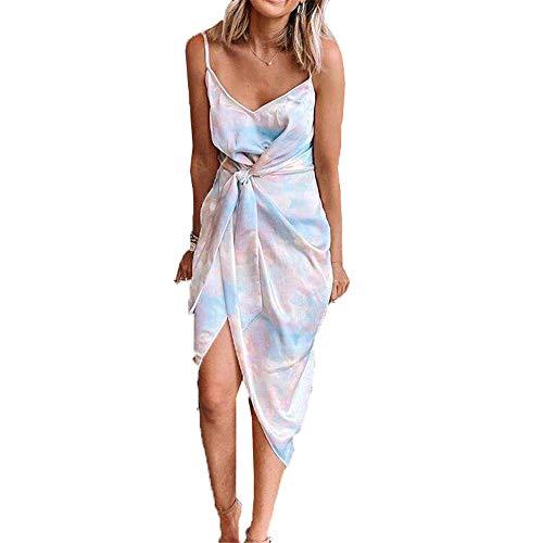 ZFQQ Sommer 2020 heiß verkaufendes unregelmäßiges Tie-Dye-Neckholder-Kleid für Frauen