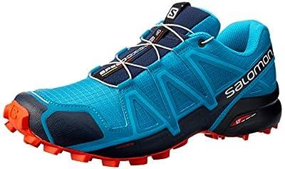 SALOMON Men's Speedcross 4 Trail Running Shoes,Fjord Blue Navy Blazer Cherry Tomato-9 UK