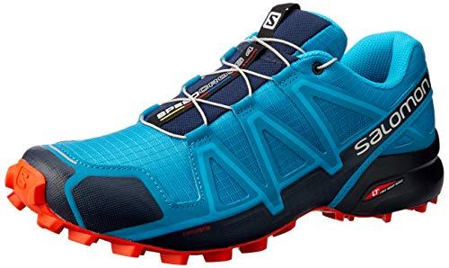Salomon Herren Trail Running Schuhe, SPEEDCROSS 4, Farbe: blau (Fjord Blue/navy Blazer/Cherry Tomato) Größe: EU 44