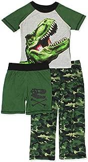 Image of 3 Piece Camo T-Rex Dinosaur Short Sleeve Pajamas for Boys