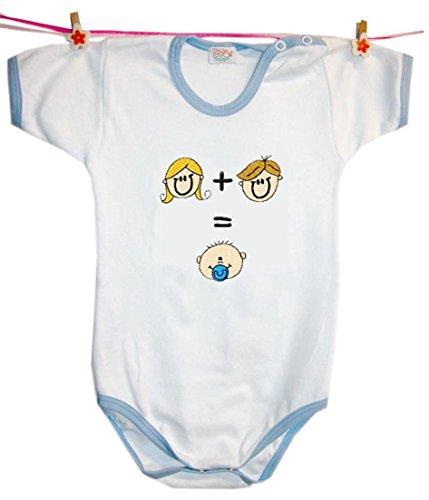 Zigozago - Body Bèbè à Manches Courtes pour bébé avec Broderie Maman + Papa = Moi Taille: 18-24 Mois
