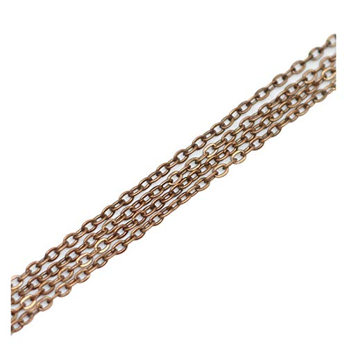 WEIGENG 5 m/lote de 2 x 3 mm color negro y bronce cadenas de latón a granel para la fabricación de accesorios de joyería (color: cobre rojo)