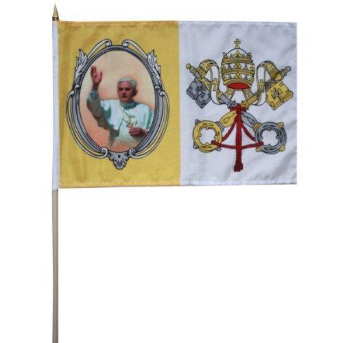 Vatikan Fahne Flagge mit Papst Benedikt XVI Stockflagge 30 x 45 cm