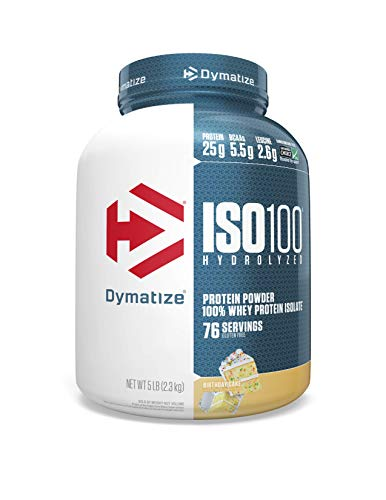 Dymatize ISO100 Hydrolyzed Protein Powder, 100% Whey Isolate Protein, 25g of Protein, 5.5g BCAAs, Gluten Free, Fast Absorbing, Easy Digesting, Birthday Cake, 5 Pound