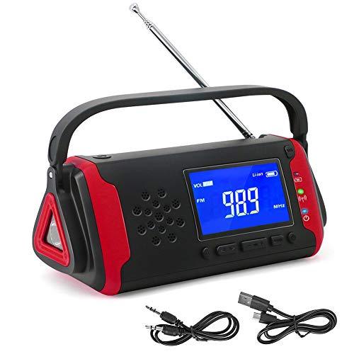 Radio portátil, Radio de Carga de energía móvil, Cargador meteorológico Dynamo de Emergencia para Exteriores con luz de Flash, Manivela Solar FM WB, Ligero (Verde)(EU)