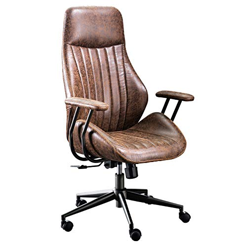ovios Office Chair Computer High Back Adjustable Ergonomic Desk Chair Executive Swivel Task Chair with Armrests Support (Dark Brown)