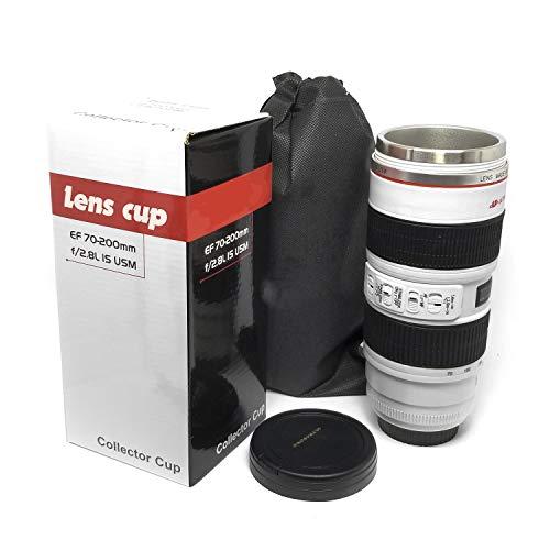 FASHION ELECTRONICS Taza en forma de lente de cámara fotográfico, para café, té, leche, bebidas, diferentes modelos y tamaños. (70-200 BLANCO)
