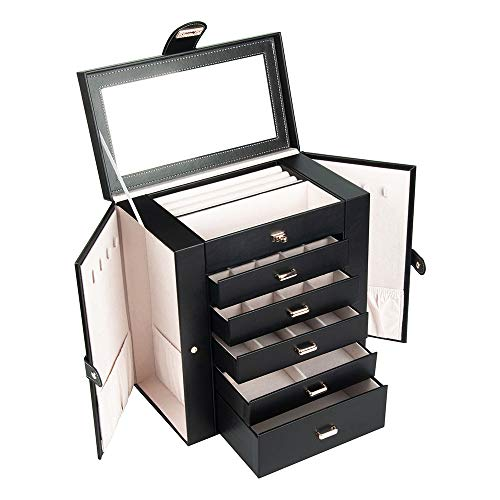 JUPDOG jewelry box for women Leather Huge Mirrored Watch Organizer Necklace Ring Earring Storage Gift Case (SSH-003 black)
