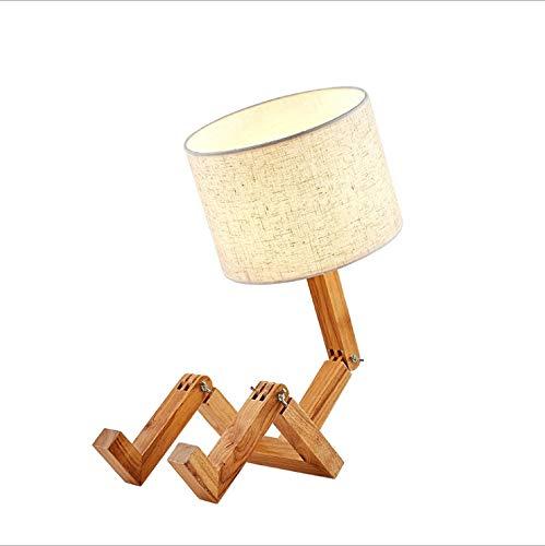 Lámpara de mesa moderna Robot de la lámpara de cabecera, pantalla de la tela plegable de ajuste de cuerpo sólido de madera, tabla creativa de la lámpara for el dormitorio de la sala