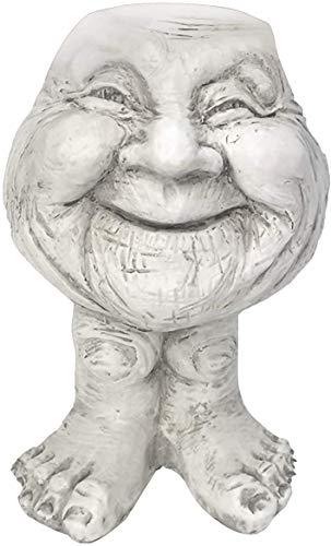 Macetero con estatua blanca antigua de Grumpy & Granny The Face de Homestyles, macetas con cara de muggles, jardinera con estatua de muggles,césped y jardín,decoración exterior,esculturas y estatuas
