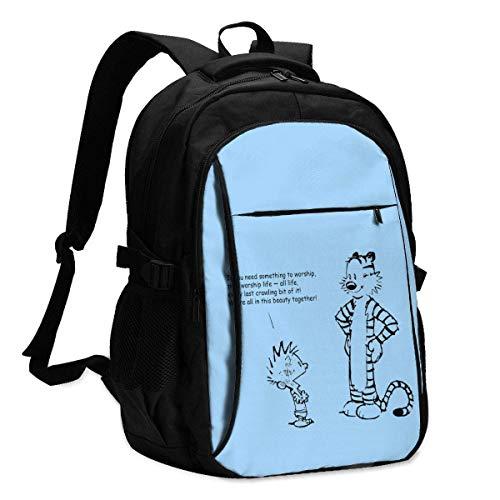 XCNGG Mochila USB con múltiples Bolsillos, Mochila Informal, Mochila Escolar Calvin Hobbes USB Backpack Casual Backpacks School Laptop Bag for Men Women Black