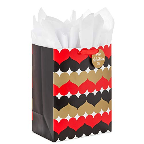 Hallmark 17' Extra Large Valentine's Day Gift Bag with Tissue Paper (Black, Red, Gold Hearts) for Husband, Wife, Boyfriend, Girlfriend, Newlyweds