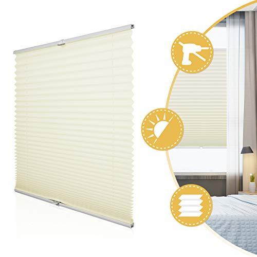 Plissee Rollo Jalousie ohne Bohren Klemmfix für Fenster & Tür Beige 80 x 120 cm (Breite x Höhe), Plisseerollo Stoff Sonnenschutz leicht zu montieren & Verspannt