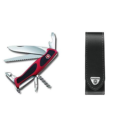 Victorinox Taschenmesser Ranger Grip 55 (12 Funktionen, Feststellklinge, Säge) rot/schwarz & V4.0505.L Mantel, schwarz, One Size