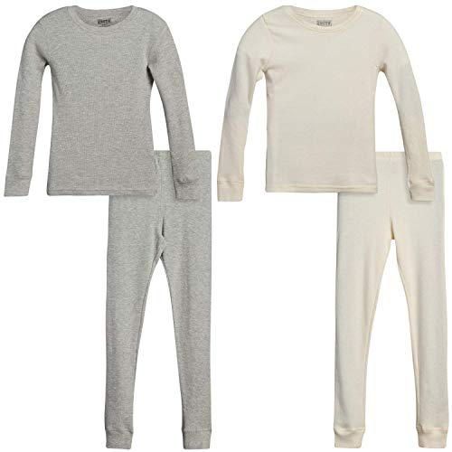 Only Boys Thermal Underwear Set – Boys Winter Base-Layer Long Johns Waffle Knit Thermal Top and Pant (2 Full Sets), Size 12/14, Cloud Bank/Heather Grey
