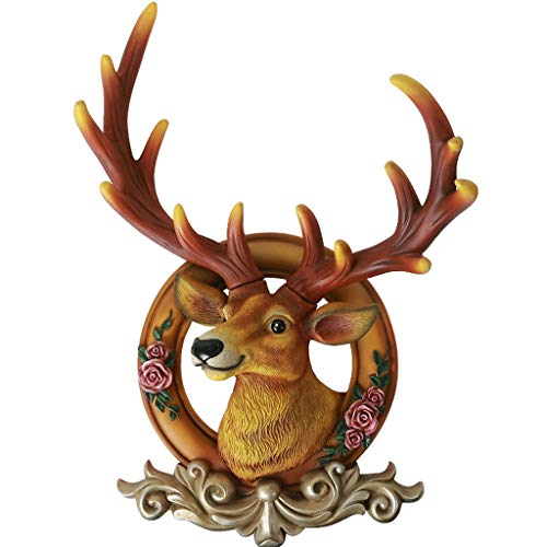 LIUBINGER Escultura Colgante de decoración de Pared Cabeza de Ciervo Retro Animal simulación Forzada Resina 20 * 36 * 57cm Manualidades