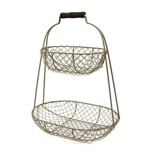 CVHOMEDECO Panier à fruits rustique en fil de poulet à 2 étages en métal avec poignée Style campagnard vintage Panier de rangement 12,4 x 8,4 x 40,6 cm (gris)