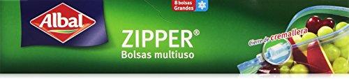Albal Bolsas multiuso, ZIPPER, cierre hermético de cremallera, tamaño grande (3L), 8 unidades