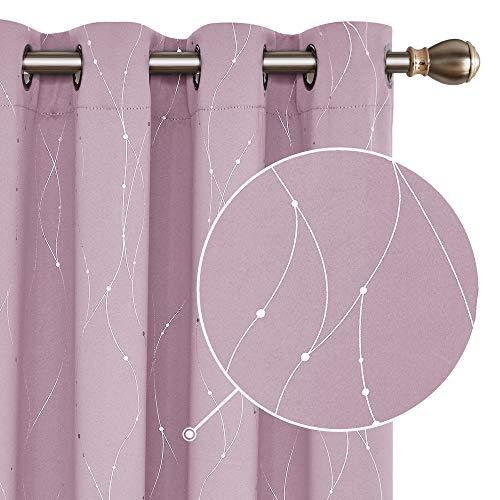 Deconovo Cortina Opaca para Habitación Matrimonio de Línas Plateadas Estilo Moderno Elegante con Ojales 2 Piezas 140x138cm Rosa Claro