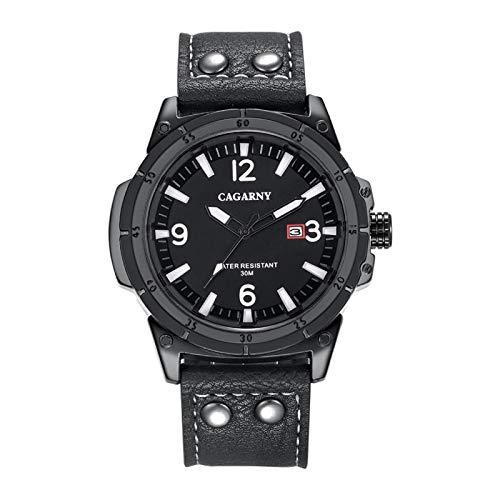 Strimm CAGARNY 6853 Reloj de pulsera de cuarzo impermeable con correa de cuero