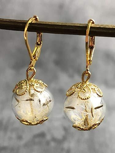 Ohrringe mit Pusteblumen Löwenzahn - Vergoldet - Blumen Ohrhänger
