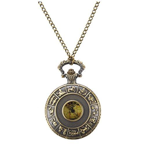 SODIAL(R) Collar Vintage Viejo Mundo Mapa viajeros reloj de bolsillo de regalo en cadena (Australia)
