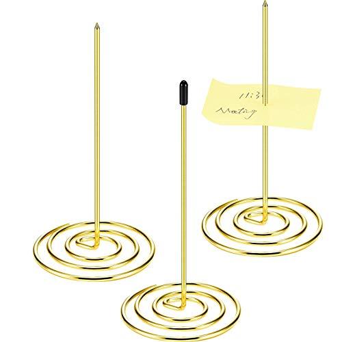 3 Pieces Desk Straight Rod Paper Holder Spike Stick Receipts Check Bill Fork, Stainless Steel Receipt Holder, Paper Spike, 140 mm/ 5.5 Inch (Gold)