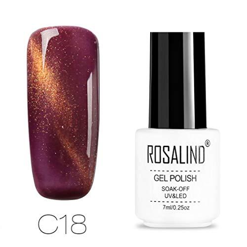 ROSALIND Esmalte de uñas de gel efecto 3D para gato de espejo mágico para arte de uñas semipermanente de UV y LED 30 colores lacado en gel