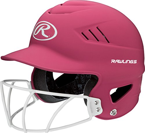 Rawlings Highlighter Series Coolflo Youth Baseball/Softball Batting Helmet with Face Guard, Matte Neon Pink