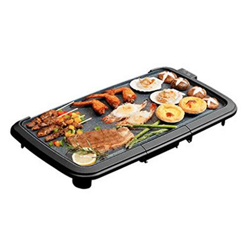 SJZD Elektrogrill Rauchfreier Innengrill 220V 1500W Sicherer Elektrogrill Hochleistungs-Antihaft-Teppanyaki-Küchenpfanne Leicht zu reinigen, für 3-8 Personen, Schwarz