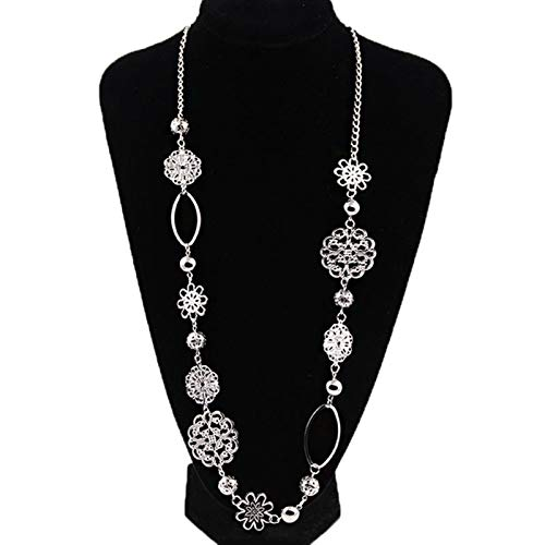 WanXingY Retro Fashion Long Necklace Female Layered Statement Necklace Bohemian Jewelry Flower Alloy Necklace (Color : Silver)