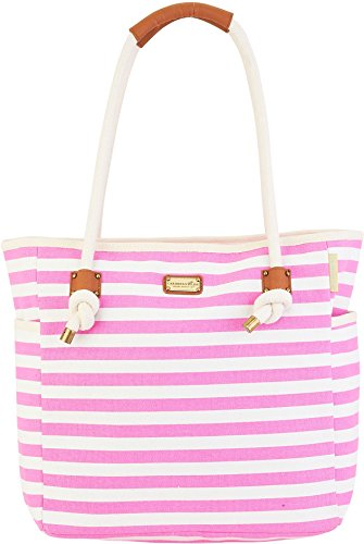 Caribbean Joe Pink & White Striped Beach Bag Tote One Size Pink/white