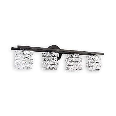 BDL Bathroom Vanity Light Fixtures 2020 New Black 4 Lights Crystal Shade Modern Wall Bar Sconce Mirror (Exclude Bulb)