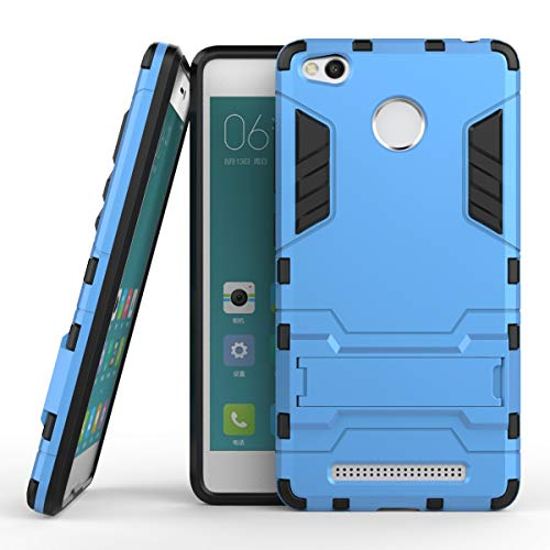Yhuisen 2 in 1 Iron Armor Tough Style Hybrid Dual Layer Armor Defender PC + TPU beschermende harde behuizing met standaard [Shockproof Case] ​​voor Xiaomi redmi 3S / redmi 3 Pro (Color : Blue)