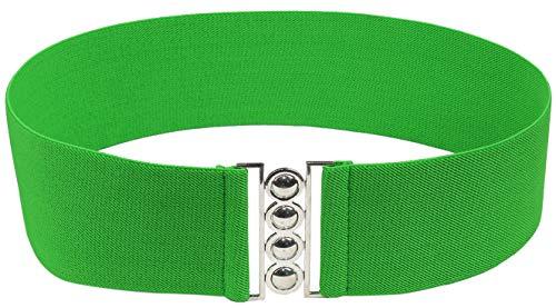 Modeway Women 3inch Fashion Wide Belt Elastic Stretch Waist Belt , Metal Buckle Waistband (XL-XXL(34-38inch), Green)