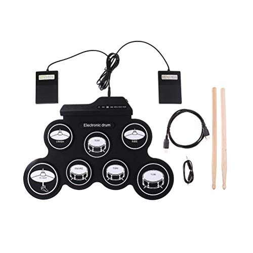 Great Price! LIOOBO Electronic Drum Set 7 Pads Foldable Electric Drum Set with USB Jack (Black)