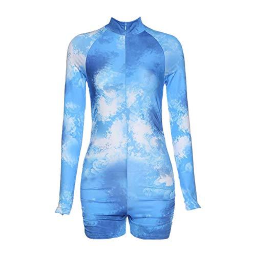 GROOMY Rompers, Women Tie-Dye Long Sleeve Jumpsuit Turtleneck Zip Ruched Butt Lift Short Rompers- Blue-L