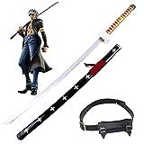 ONE PIECE COS Espada de madera Trafalgar Law Cosplay Anime Lovers Samurai Swords Katana Blade Modelo de arma Juguetes decorativos Regalo para niños - con cinturón de espada (104 cm / 41 pulgadas)