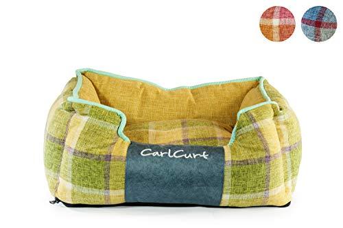 CarlCurt - Fashion Line: Kuschelweiches Hundebett Mit Angenehmen Weichen Kissen Und Strapazierfähigen Außenteil Aus Leinengwebe, S 58 x 48 x 22cm, Gelb-Grün