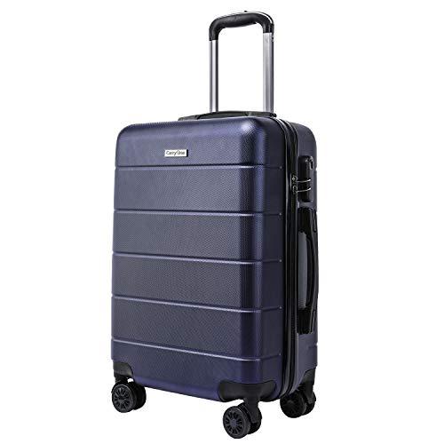 CarryOne Valise Rigide Légère Bagage | 4 Doubles à roulettes Silencieuses | Combinaison de Serrure | Valise de Mode 19TC1-Bleu-55cm