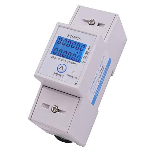 KingSaid LCD Digitaler Geeicht Stromzähler Wechselstromzähler Hutschiene Einphasiger mit Tageszähler 5(80) A für DIN Schienen